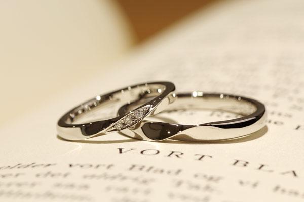 フルオーダーマリッジリング(結婚指輪)完成写真・プラチナ900・ダイヤモンド