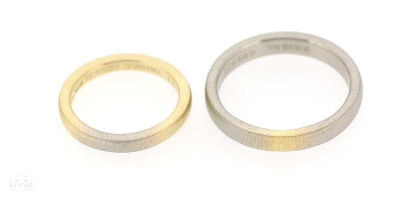 18金のグラデーションのマリッジリング(結婚指輪)