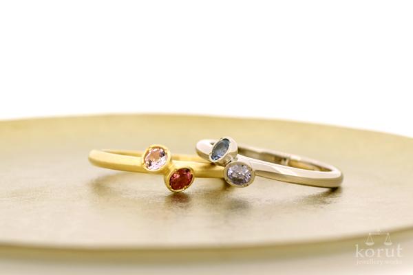 イエローゴールド&トパーズ&トルマリンのリング(指輪)、ホワイトゴールド&タンザナイト&アクアマリンのリング(指輪)