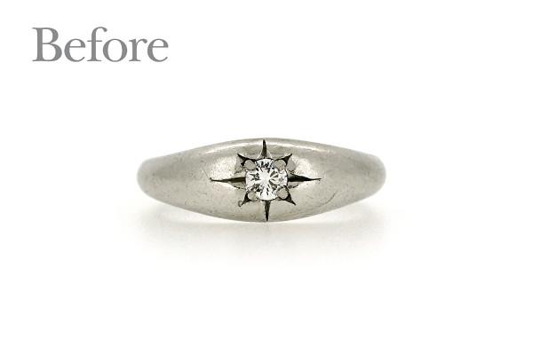 リフォーム前のプラチナ製ダイヤモンドリング