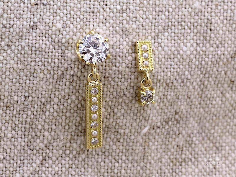 リフォーム後のピアス、ダイヤモンドとケシパール使用