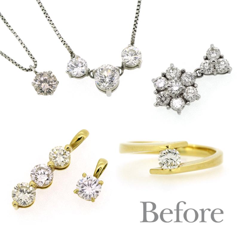 リフォーム前の指輪、ペンダントなど、ダイヤモンドジュエリー