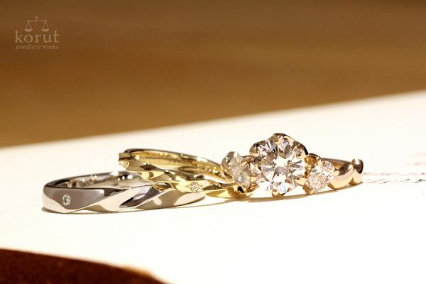 リフォームエンゲージリング(婚約指輪)とフルオーダーマリッジリング(結婚指輪)完成写真1