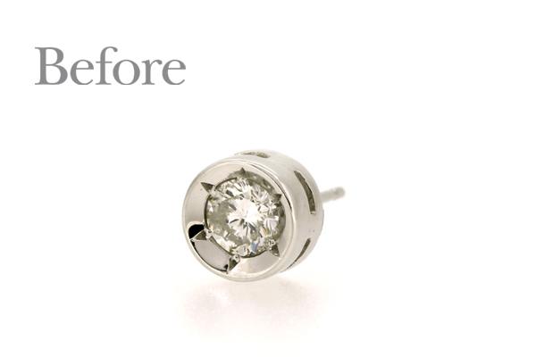 リフォーム前のプラチナ製ダイヤモンドピアス