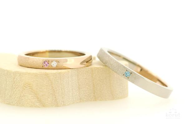 ピンクゴールドとホワイトゴールドのマリッジリング(結婚指輪)
