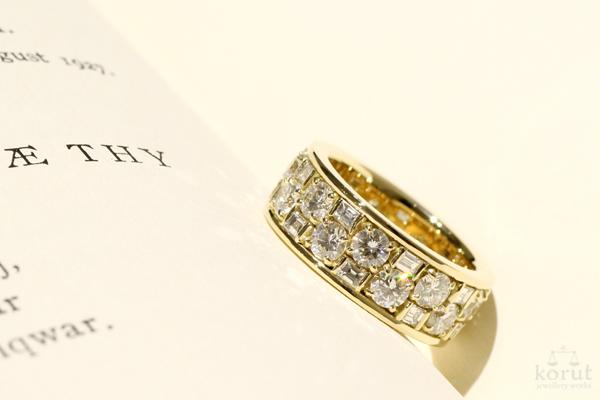 バゲットカットとラウンドカットのダイヤモンドを使用した18金イエローゴールドリフォームリング2