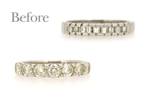 バゲットカットとラウンドカットのダイヤモンドを使用した18金イエローゴールドリフォームリング(リフォーム前)