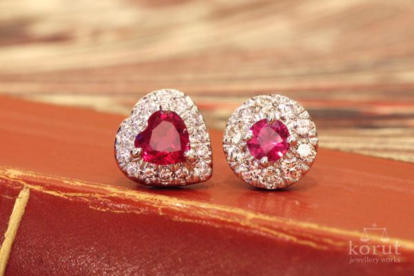 ルビーとダイヤモンドを使用した左右で異なったデザインのリフォームピアス