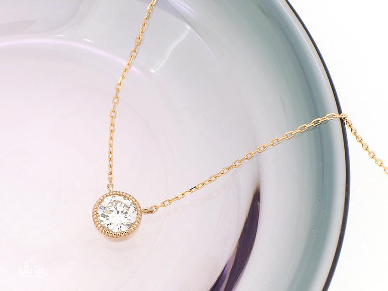 リフォーム後のダイヤモンド一粒石ネックレス