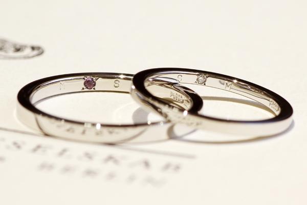 フルオーダーマリッジリング(結婚指輪)完成写真、リング内側への石留・ダイヤモンド、アメジスト