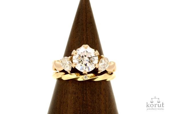 リフォームエンゲージリング(婚約指輪)とフルオーダーマリッジリング(結婚指輪)完成写真2