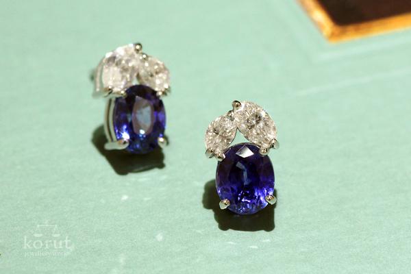 サファイアとダイヤモンドのピアス