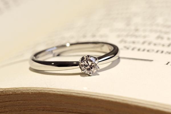 リフォームフルオーダーエンゲージリング(婚約指輪)、プラチナ900・ダイヤモンド・6本爪枠・光沢仕上げ