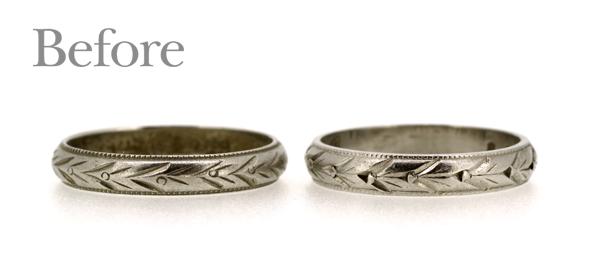 リフォーム前の彫り模様が入ったマリッジリング(結婚指輪)