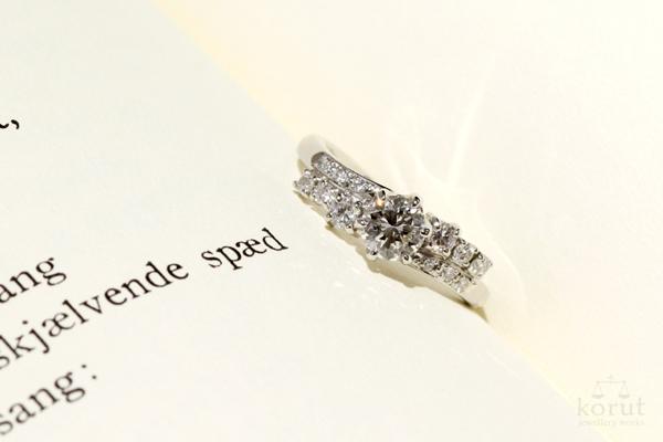 完成したリフォームエンゲージリング(婚約指輪)・プラチナ・ダイヤモンド・光沢仕上げ