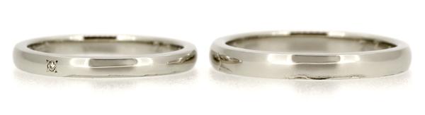 フルオーダーマリッジリング(結婚指輪)完成写真、プラチナ900・ストレート甲丸リング・光沢仕上げ、女性用のみホワイトダイヤ彫留