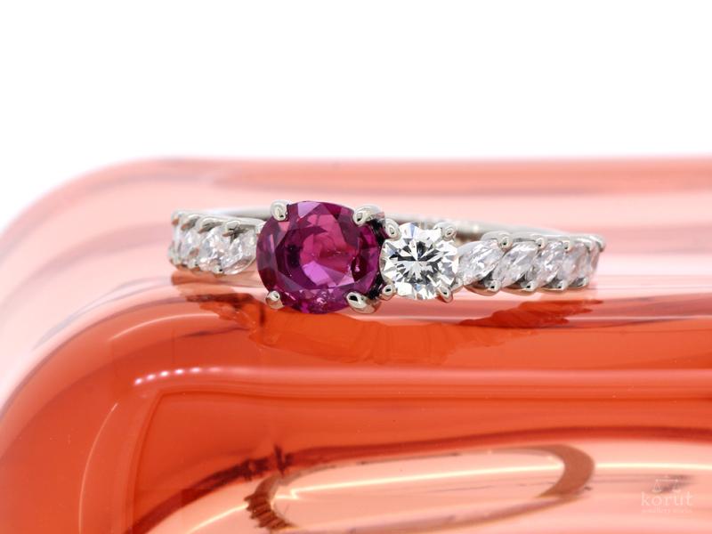 ルビーとダイヤモンドの指輪。リフォーム後。