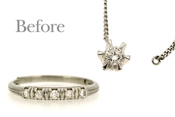 リフォーム前のプラチナ製ダイヤモンドリングとプラチナ製ダイヤモンドペンダント