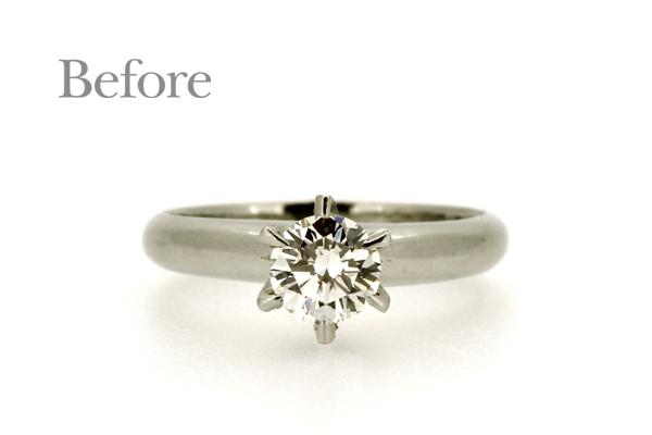 リフォーム前のプラチナ製ダイヤモンド立爪エンゲージリング(婚約指輪)