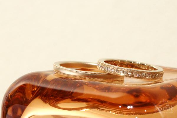 ハーフエタニティとミルグレインのマリッジリング(結婚指輪)