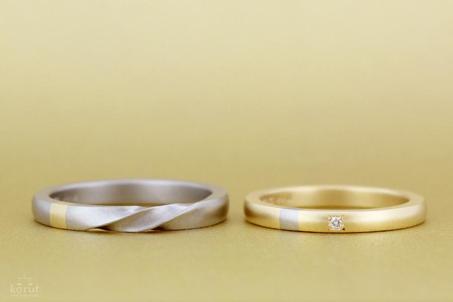 イエローゴールドとホワイトゴールドのマリッジリング、結婚指輪