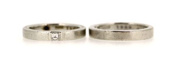 リフォーム前のプラチナ製ダイヤモンドマリッジリング(結婚指輪)