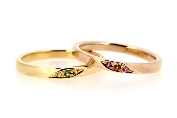 フルオーダーマリッジリング(結婚指輪)完成写真、18金イエローゴールド・グリーントルマリン・シトリン、18金ピンクゴールド・シトリン・ピンクトルマリン