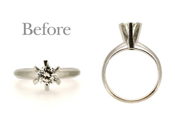 リフォーム前の高さのある立爪エンゲージリング(婚約指輪)、プラチナ・ダイヤモンド
