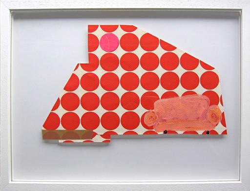 Wohnblock-Interieur #2 _ Acryl / Tape auf Tapete | 30x40cm (Rahmen), 2013