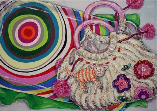Handtasche mit Miezi _ Öl auf Leinwand | 50x70cm, 2006