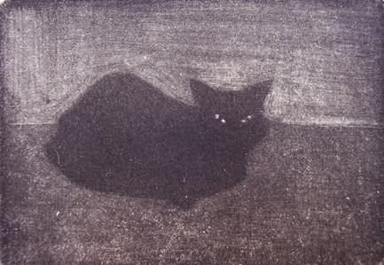 schwarze Katze _ Mezzotinto | Platte 5,5x7,5cm, 2002