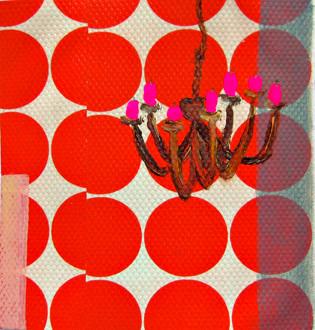 Variation zum kl.Glück #1.1 _ Öl / Acryl / Bleistift auf Tapete / Papier |  13x12cm, 2012