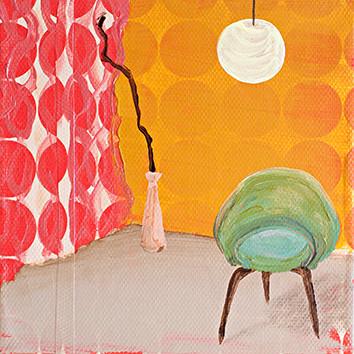 Interieur mit Vorhang _ Acryl auf Tapete / Leinwand | 20x20cm, 2014