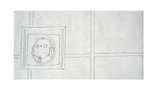 Steckkontakt _ Strichätzung | Platte 12x22cm, 2005