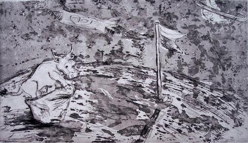 Weltraumkuh _ Strichätzung / Aquatinta | Platte 15x26,5cm, 2005