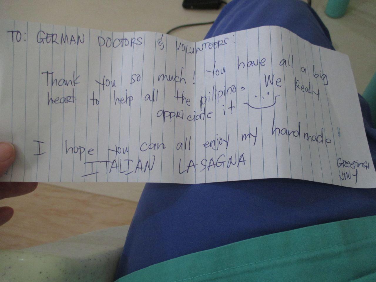 ein kleines Dankeschön einer Patientin, die Lasagne war sehr lecker