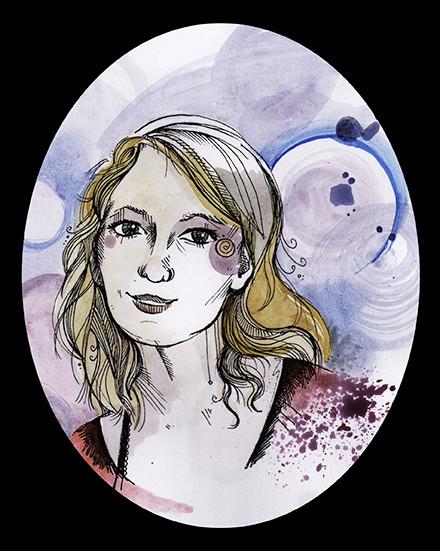 """""""Self"""", watercolours & fineliner, 2014"""