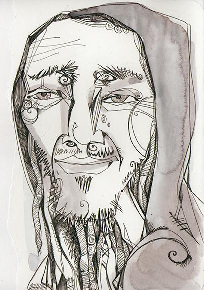 """Simon the Barefoot Nomad"", watercolours & biro, 2015"