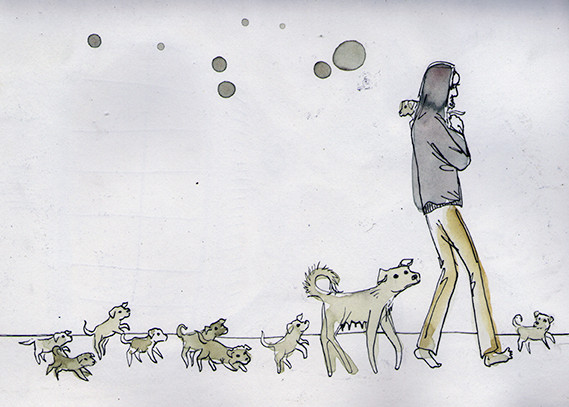 """Simon and his babies"" (South Africa), watercolours & fineliner, 2015"