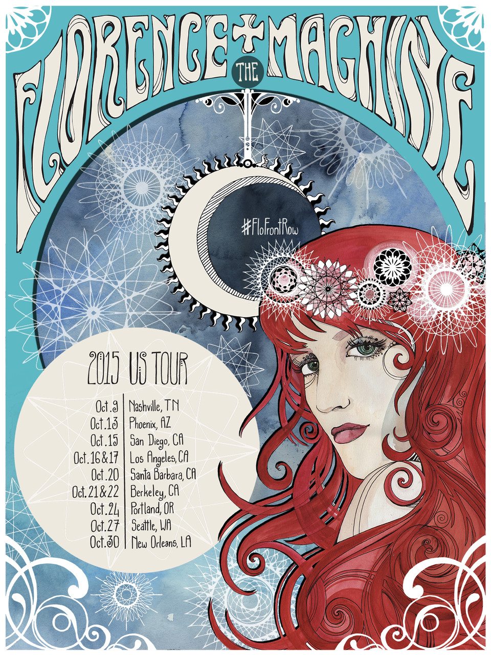 Entry for Florence and the Machine tour poster competition (Talenthouse) Mixed media & digital editing, 2015