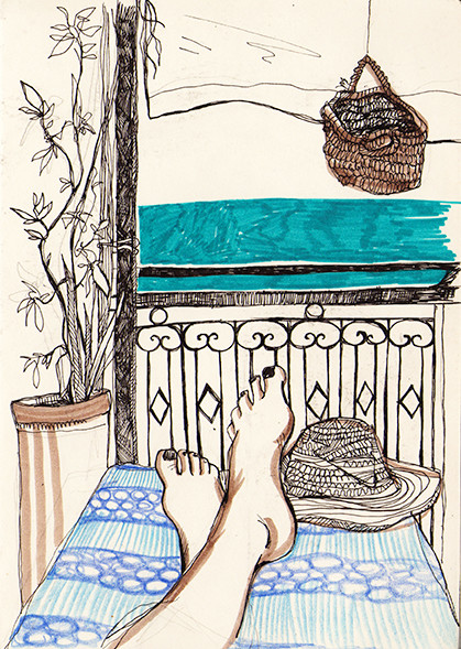 """Relax"" (Morocco), fineliner & markers, 2015"