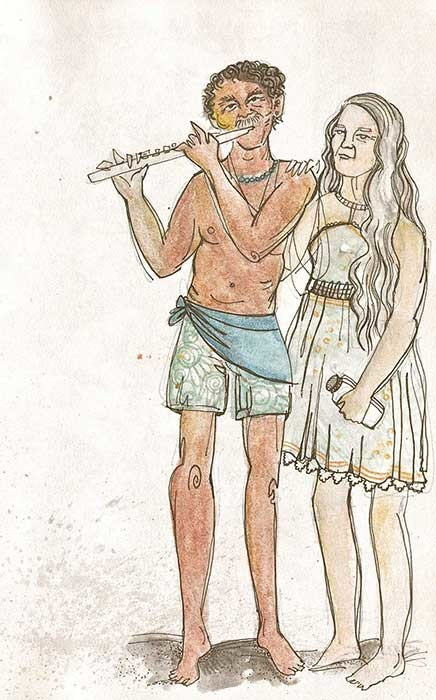 """Kehena flute player"" (Hawaii), coloured pencils & fineliner, 2014"