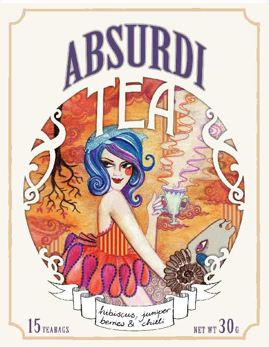 "Package Design for ""Absurdi-Tea"", coloured pencils & digital editing, 2013"