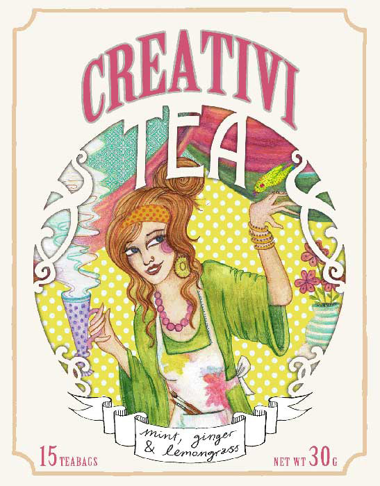 "Package Design for ""Creativi-Tea"", coloured pencils & digital editing, 2013"