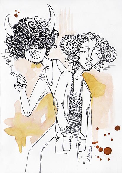 """The Lost Boys"", watercolours & fineliner, 2015"