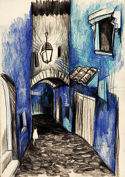 """Night Street Chefchaouen"" (Morocco), pencil & coloured pencils, 2015"