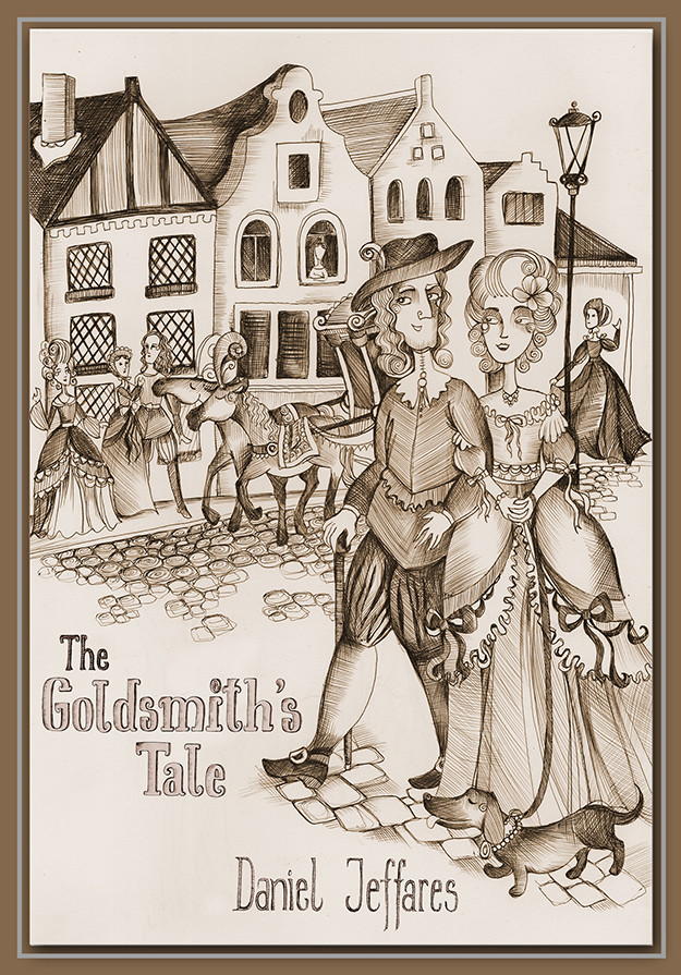"Book cover for ""The Goldsmith's Tale"", biro & digital editing, 2016"