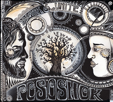 "Cover design for Pososhok's album ""Black & White"", acrylics & fineliner, 2015"