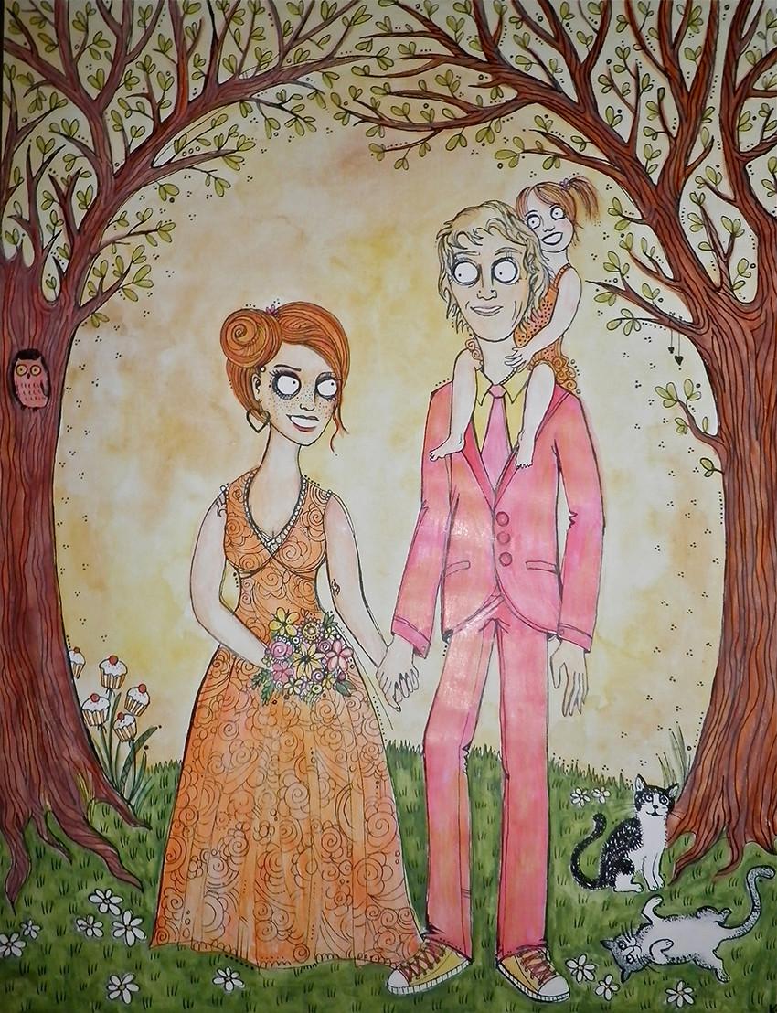 """""""Zoe & Bal"""", watercolours & biro, 2011"""