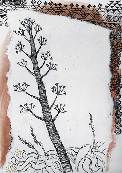 """Beach tree"" (South Africa), fineliner & collage, 2015"